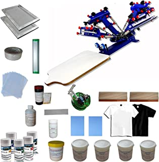 Screen Printing Materials Kit & 4 Color 1 Station Screen Press for beginners