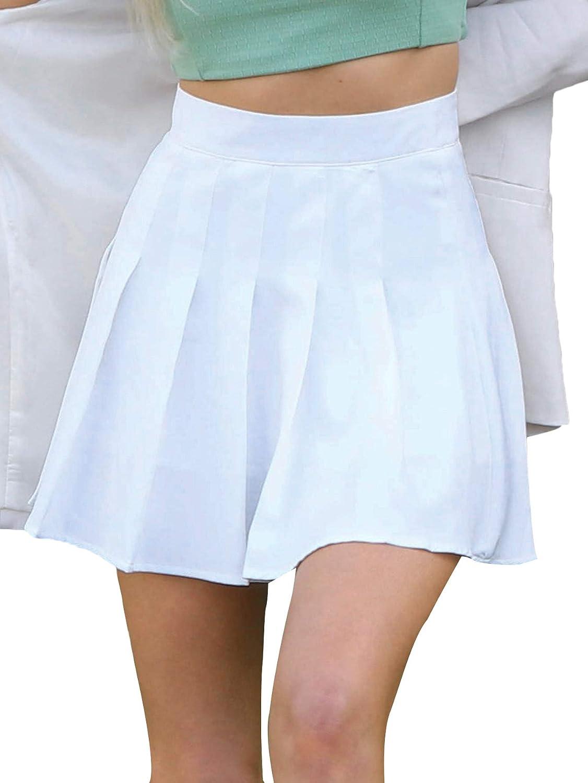 SheIn Women's Pleated High Waist A-Line Mini Skirt Zipper Side Solid Short Skater Skirt