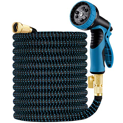 """Oyydecor 75ft Garden Hose, Expandable Water Hose with 3/4"""" Solid Brass Fittings, Extra Strength Fabric - Flexible Expanding Hose with 9 Function Water Spray Nozzle"""