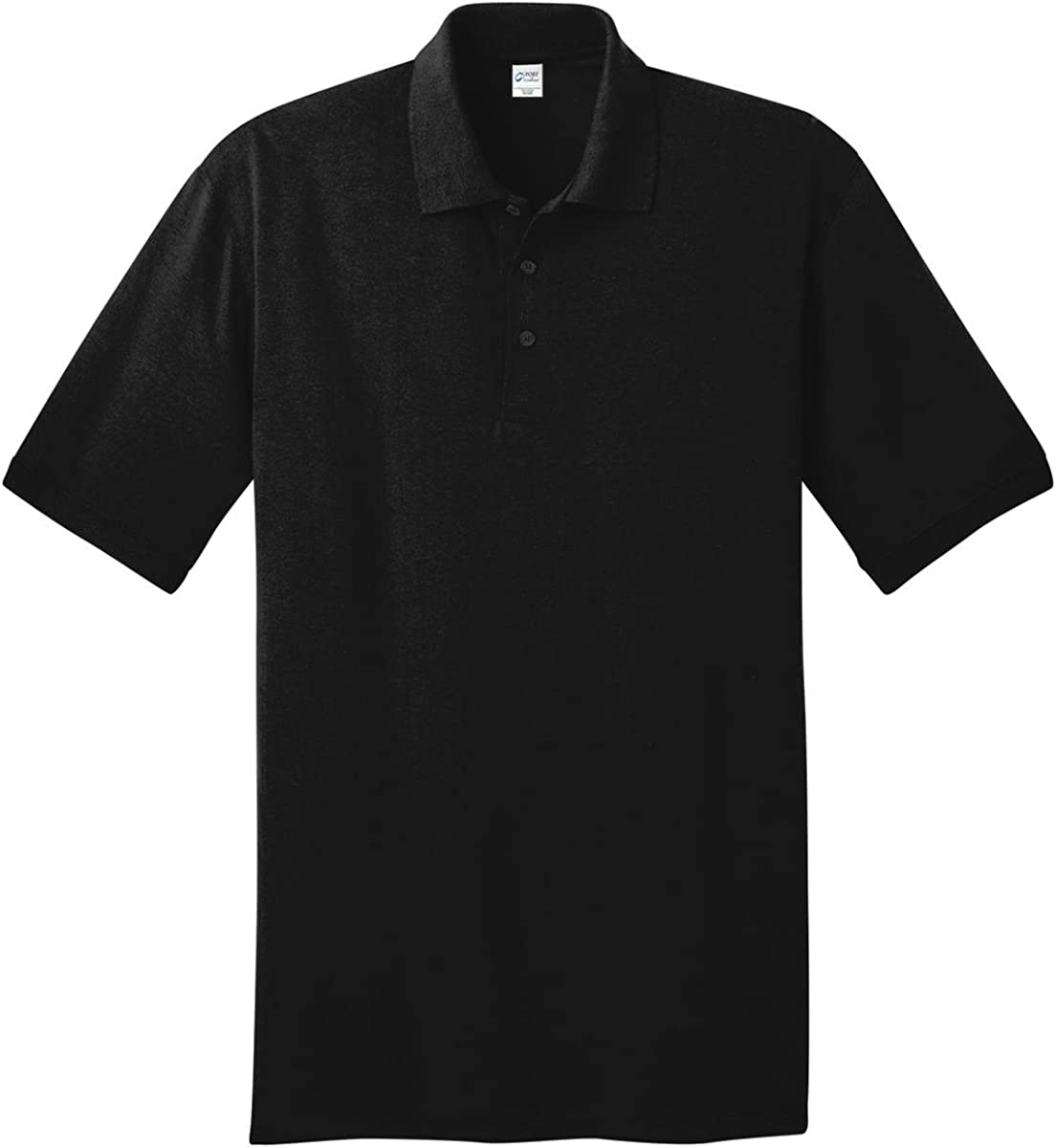 Port & Company Tall 5.5-Ounce Jersey Knit Polo Shirt, Jet Black, Large Tall
