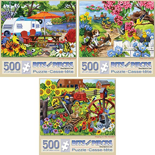 "Bits and Pieces - Set of Three (3) 500 Piece Jigsaw Puzzles for Adults - Each Puzzle Measures 18"" X 24"" - 500 pc Farm and Animal Jigsaws by Artist Nancy Wernersbach"