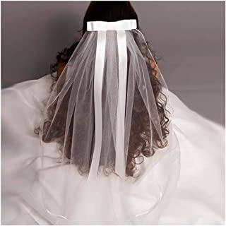 HXSD 2019 New White Ivory Kids Girls First communion Veils Tulle Bow with comb Appliques Wedding Flower Girl veil (Color : Ivory)