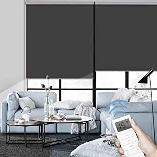 Graywind Motorized Roller Shade Blinds 100% Blackout Shades Cordless Waterproof Remote Control Window Automated Blinds with Valance Custom Size for Smart Home and Office, Dark Grey