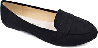 Women's Faux Suede Comfort Slip-on Penny Loafer Flat Shoes
