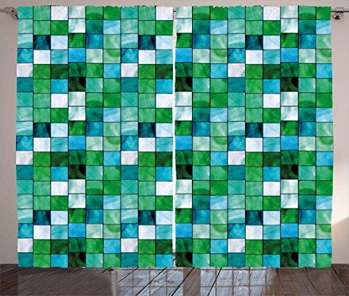 Lunarable Emerald Curtains, Geometric Mosaic Squares Soft Aquatic Color Scheme Checkered Tile Pattern, Living Room Bedroom Window Drapes 2 Panel Set, 108' X 96', Green Blue