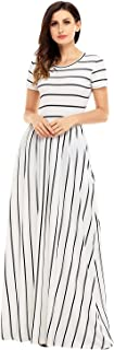 Women's Casual Striped Loose Plain Long Maxi Dresses with Pockets