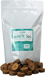 Minute Soil - Compressed Coco Coir Fiber Grow Medium - 30 MM Discs - Bag of 70 = 5.75 Quarts of Potting Soil - Indoor Growing: Seed Starts, House Plants, More - Just Add Water - Peat Free - OMRI