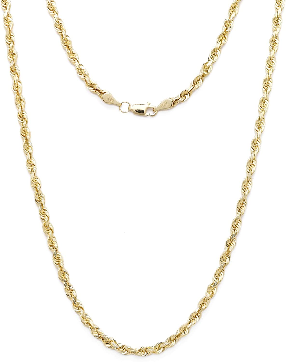 Floreo 10k Yellow Gold 2mm Solid Rope Chain Diamond Max 61% OFF Cut Necklace store