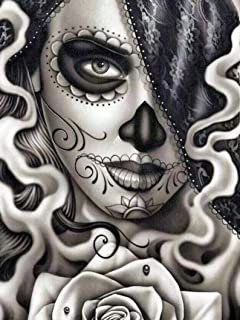 5D DIY Diamond Painting Day of The Dead Sugar Skull Girl Mosaic Cross Stitch Full Square Drill 3D Diamond Painting kit Home Decoration Gifts 30cm X 40cm