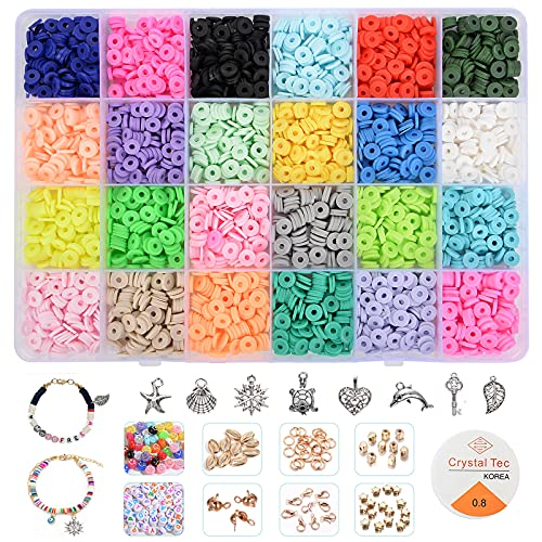 4000Pcs Clay Beads for Jewelry Making Bracelet Kit,Flat Round Polymer Heishi...