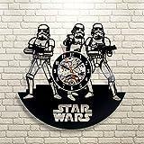 Stormtrooper Star Wars Art Vinyl Record Wall Clock Fan Gift Black Room Decor Idea - Win a prize for feedback