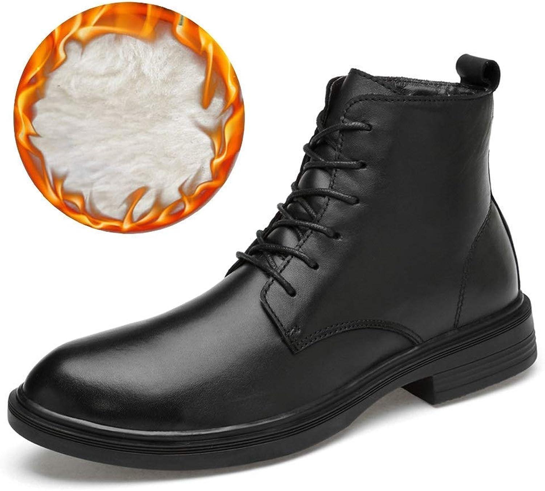 Men's Fashion Ankle Boots, Casual Comfortable Cowhide High Top Simple Martin Boots (Warm Velvet Optional) (color  Black, Size  47 EU) (color   Warm Black, Size   45 EU)