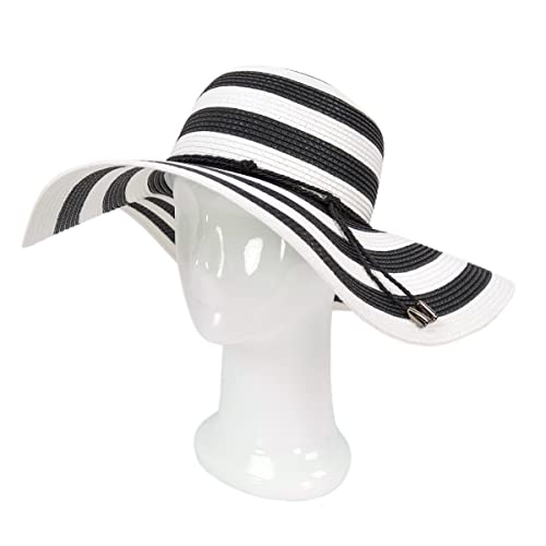 Women s Elegant Floppy Wide Brim Striped Straw Beach Sun Hat - Diff Colors 9109886b1f71