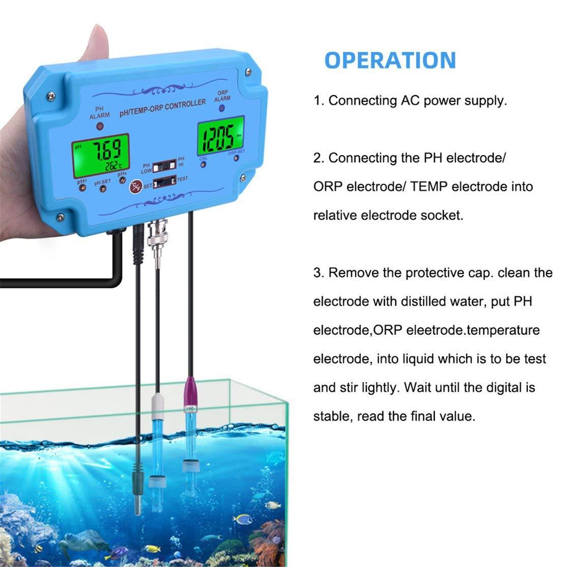 LouiseEvel215 Controlador de pH/Temp/ORP 3 en 1 Detector de ...
