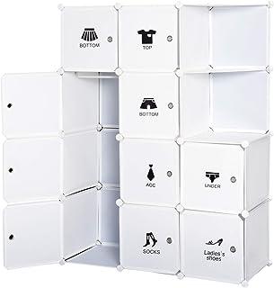 Homcom Armoire penderie Cube Multi-rangements 10 Cubes + 2 étagères + Autocollants décoratifs 111L x 47l x 145H cm Blanc