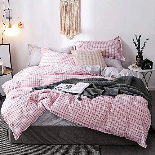 BH-JJSMGS Duvet cover, chic country floral pattern bedding, reversible printing design, easy-care soft microfiber bedding and pillowcase, pink grid Single150*200cm