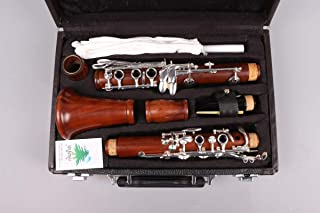 Yinfente Intermediate B-Flat Clarinet Rosewood wood Body Silver Plate Bb Key 17 key Case + Reeds + Pads (Bb key)