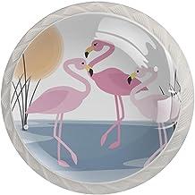 AITAI Flamingo Lake Reed Scene Ronde Kabinet Knop 4 Pack Trekt Handgrepen