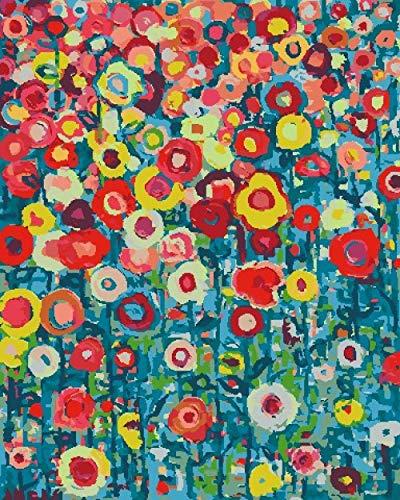 Pintar Cuadros Por Numeros Adultos,Flores Y Plantas De Colores 40X50 Cm Sin Marco Lienzo Preimpreso Pintar Por Numeros Para Decoración De Pared Con 3 Pinceles Y Pintura