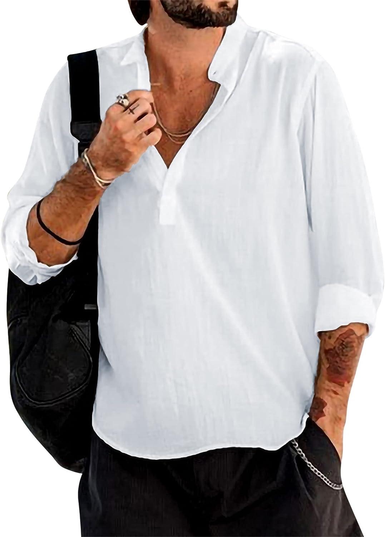 Men´s Shirt Long Sleeve Casual Loose Fit Henley Shirts Button-Down Shirt Beach Summer T Shirts s