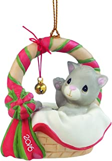 """Precious Moments, Meowie Christmas"""", Dated 2016, Bisque Porcelain Ornament, 161009"""