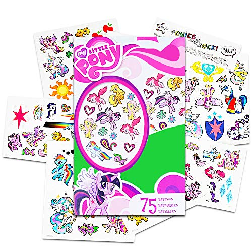 My Little Pony Temporary Tattoos - 75 Tattoos - Twilight Sparkle, Rainbow Dash, Fluttershy, Pinkie Pie, Applejack, Rarity, Spike the Dragon, Princess Celestia, and Princess Luna!