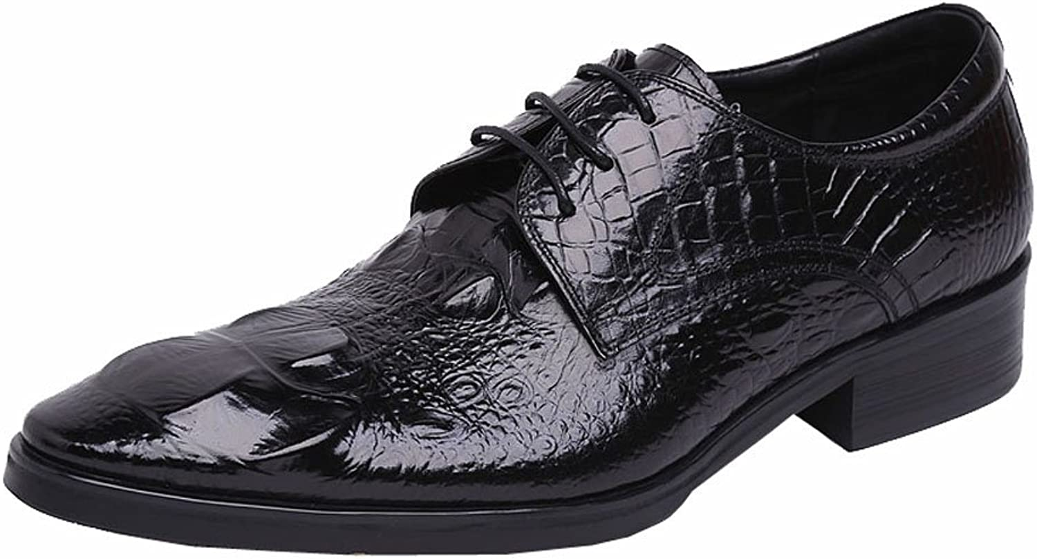 Wuf Mens Genuine Leather Dress shoes Lace Up Crocodile Embossed