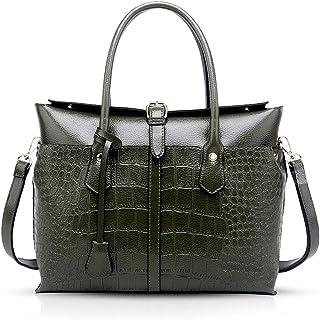 NICOLE & DORIS Handtasche für Damen Schultertasche Damen Henkeltaschen Umhängetaschen aus PU-Leder Dunkelgrün