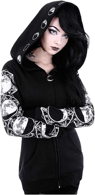 Zipper Hoodie for Women Black Long Sleeve Gothic Vintage Sweatshirt Plus Size Punk Moon Print Coat Cardigan
