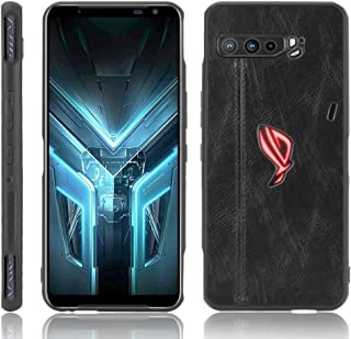 QGT For Asus ZS661KS/ ROG Phone 3 Strix Shockproof Sewing Cow Pattern Skin PC + PU + TPU Case (Color : Black)
