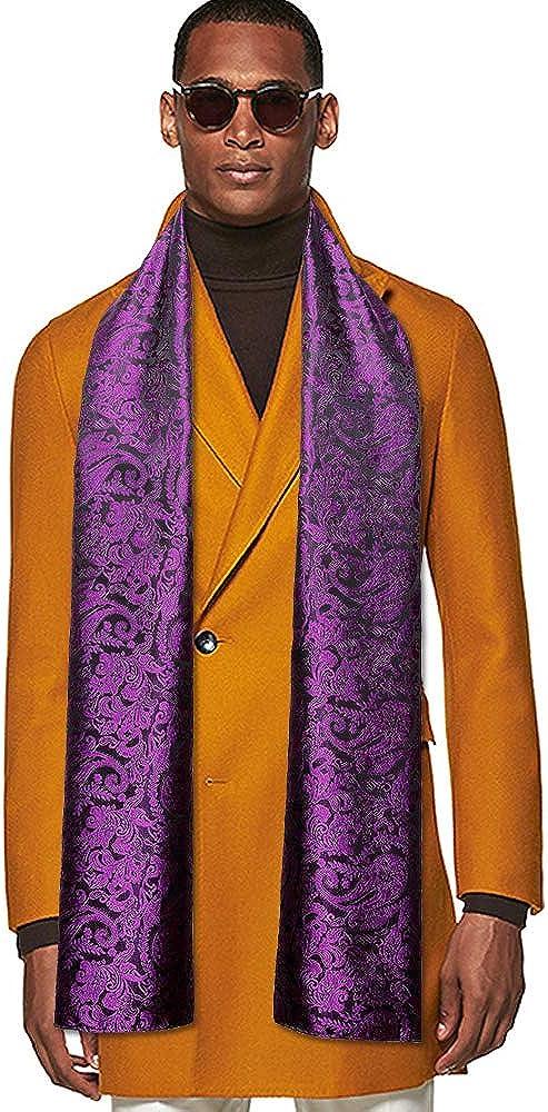 YOHOWA Mens/Womens Lightweight Silk Scarf Fashion Print Paisley Scarves Neckerchief Shawl Autumn Winter 63