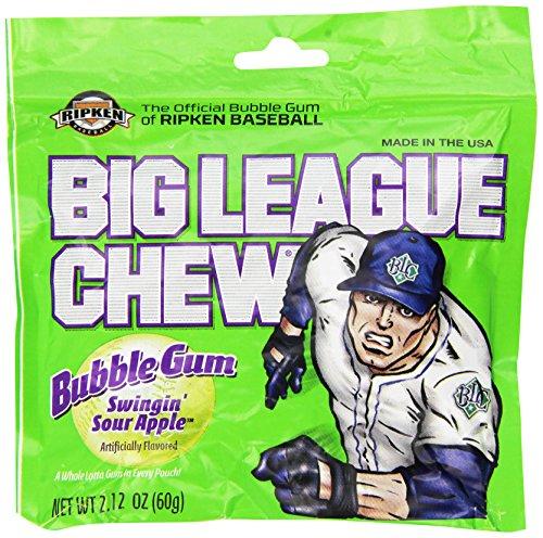 Big League Chew, Swingin Sour Apple Bubble Gum, 2.12-Ounce Pouches (Pack of 12)