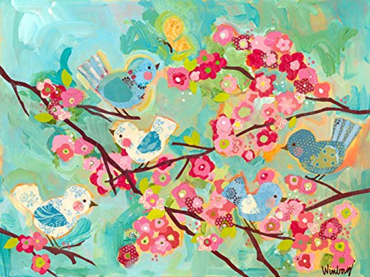 Oopsy Daisy Cherry Blossom Birdies Stretched Canvas Wall Art, 24  X 18