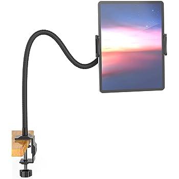Jumkeet Support Tablette avec Col de Cygne, Support Tablette pour Lit Réglable Stable, Support pour iPad iPhone Telephone Series/Nintendo Switch/Samsung/Kindle et Plus, 60cm de Longueur Totale