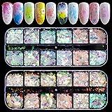 Ebanku 24 Couleurs Paillettes Ongles Holographiques Nail Art Flakes Glitter Sirène, Brillant Paillette Iridescent Stickers colorés Fournitures Nail Art pour les yeux du Corps du vVsage Nail (2 Boîtes)