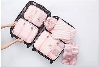 L.Atsain 7Set Cubos de Embalaje para Carry On, Maletas de Viaje con Bolsa de lavandería Bolsa de Zapatos de compresión para Equipaje de Mano, veliz y Mochila Accesorios, Rosado…
