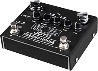 JOYO PreAmp House Dual Channel Preamp Simulator Effect Pedal Features Clean and Distortion Channel Switched by Foot Switches for Electric Guitar & Bass (R15)