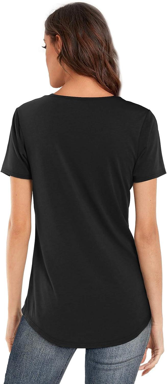 DittyandVibe Women's V Neck T Shirt Short/Long Sleeve Criss Cross Loose Casual Tops