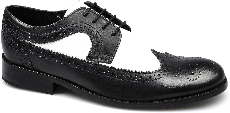 Ikon YORKE Mens Leather Brogue shoes Black & White
