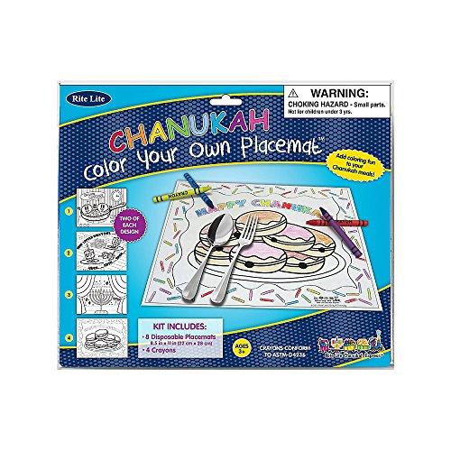 Chanukah Coloring Placemats - Great Hanukkah Activity for Kids - 1/pkg.