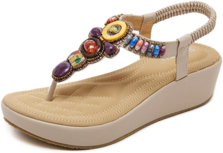 Kyle Walsh Pa Women Flip Flop Flat Sandal,Bohemian Rhinestone Beaded Thong Beach Wedge shoes Beige