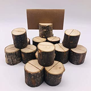 Bilipili 20Pcs Wooden Card Holders(1.2 inch) Table Number Holder Stands for Home Party Wedding Decorations