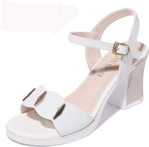 LBTSQ Chaussures Femme en été La Hauteur du Talon De 7 Cm D'épaisseur Au Bout Ouvert La Mode Les Sandales