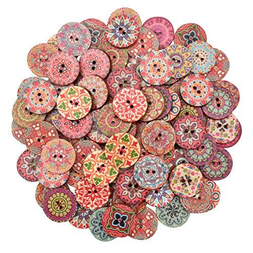 NATUCE 100 Pcs Botones De Madera 25 mm Vintage Redondos Botones De Madera De 2 agujeros Para La Costura Y Elaboración
