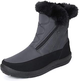 Camfosy Botas de Nieve para Mujer, Zapatos de Invierno Botas de Lluvia de Piel Botas Impermeables Furty Rising Hot para Ca...