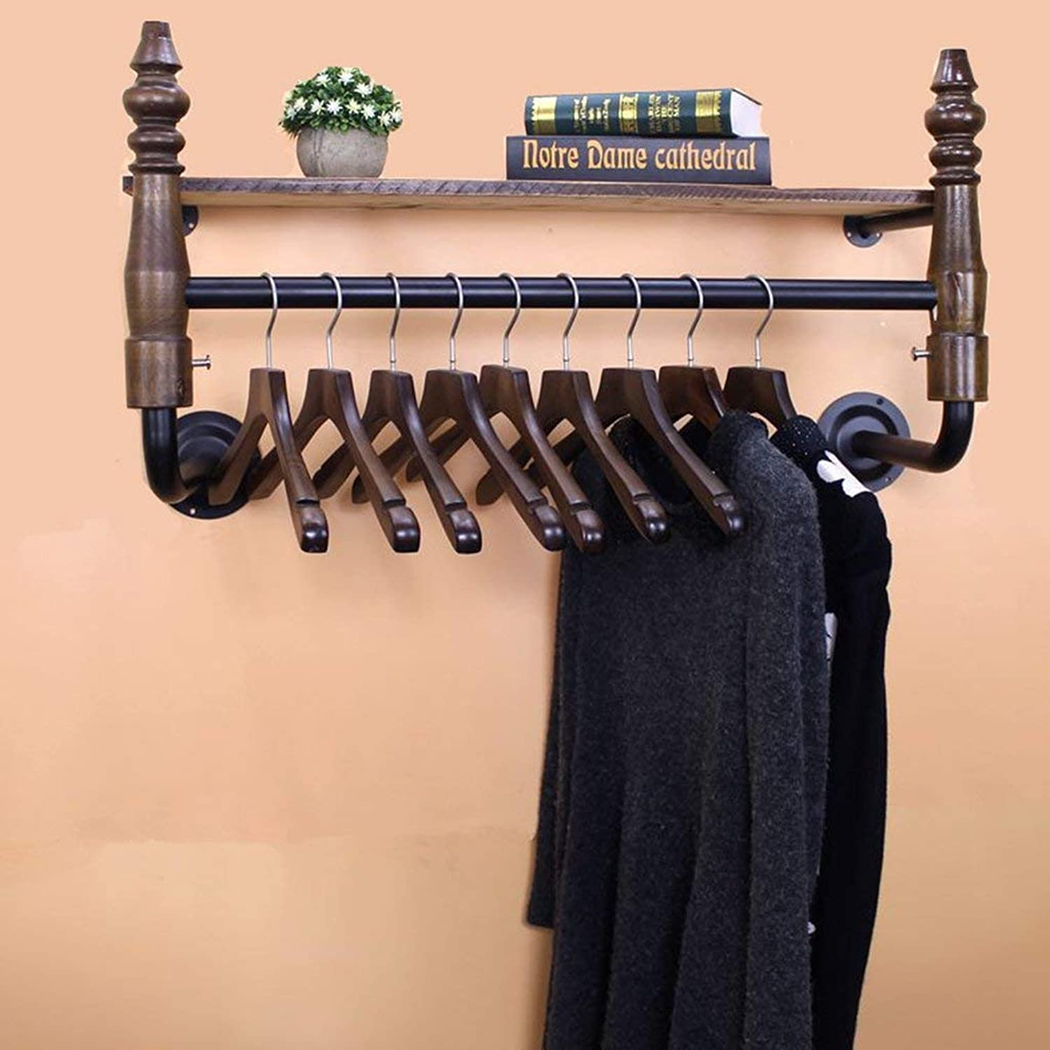DYR Iron Coat Rack + Solid Wood Clothing Store Lateral Display Stand Clothes Hanger Retro Clothing Store Shelves Wall Shelf Coat Hanger Wall Hang on The Wall Hangers Stable and Resistant (Dimen