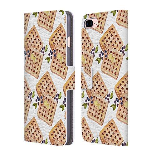 Head Case Designs Oficial Cat Coquillette Patrón de gofres Comida Carcasa de Cuero Tipo Libro Compatible con Apple iPhone 7 Plus/iPhone 8 Plus