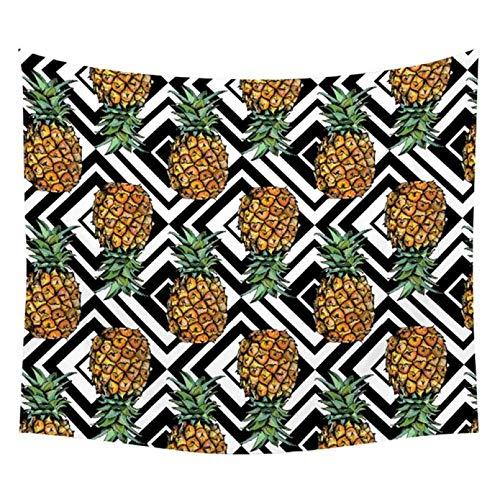 N/A Impresión 3D de tapices Cactus Tropical Planta de piña Tapices de Acuarela Fruta Tropical Colgante de Pared Hojas Verdes Geometría Dormitorio Decoración Colchas Regalo de Arte