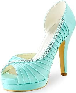 Women High Heel Pumps Platform Peep Toe D'Orsay Pleated Satin Evening Prom Wedding Shoes