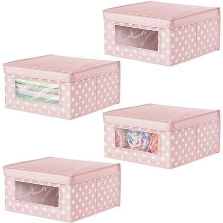 mDesign boîte de rangement en tissu moyenne (lot de 4) – panier de rangement empilable pour vêtements de bébé etc. – bac de rangement pointillé à couvercle et fenêtre – rose avec points blancs